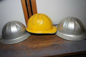LOT 3 Vintage BF McDonald Aluminum Vtg Retro Oil Rig Logger Roughneck Hard Hat