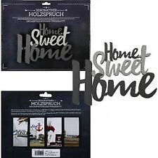 Schriftzug Home Sweet Home grau Holz zum hängen Deko Wandtattoo