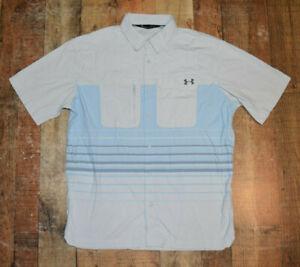Under Armour Mens UA Fish Hunter UPF 50+ Plaid S/S Button Shirt Sz Large Striped