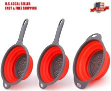 3pc Collapsible Colander Heat Resistant Foldable Strainer for Rinsing & Draining