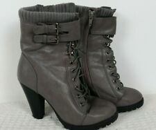 """Grey Lace Up Boots Cuff Ankle Buckles Block Heel 4 4"""" Heel Fall Autumn Winter"""
