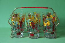 Gläserhalter aus Messing mit 6 bunten Gläsern Saftglas Wasserglas 061865