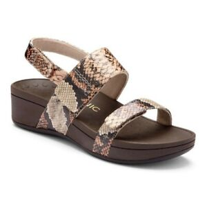 Vionic Sandals Womens 8 Brown Pacific Bolinas Slingback Snakeskin Leather Ladies