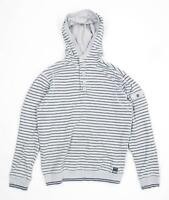 Red Herring Mens Size S Cotton Blend Striped Grey Hoodie