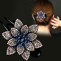 Women's Flower Crystal Rhinestone Hair Clips Claw Clamp Ponytail Holder Hairpin