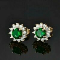 14K Yellow Gold Over 2Ct Round Cut Emerald Diamond Halo Cluster Stud Earrings