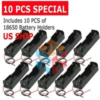 10X 18650 Lithium Ion Battery Holder Case With Wire Lead US SHIP