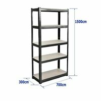 (1500 x 700 x 300) mm Heavy Duty Storage Racking 5 Tier Black Shelving Boltles
