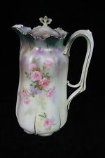 RS PRUSSIA FLORAL SATIN FINISH COVERED CHOCOLATE POT RED MARK SIGNED PORCELAIN