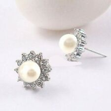 ITALINA 18K WHITE GOLD PLATED GENUINE AUSTRIAN CRYSTAL & PEARL STUD EARRINGS