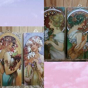 """SET OF 2 Double Sided Canvas-Wrapped Mucha Panels 29"""" x 12"""" Wall Hanging Seasons"""