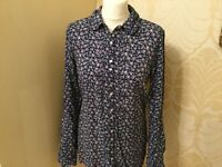 New Fat Face Navy Blue Ditsy Floral Shirt Top Blouse 8 10
