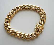 14 mm 8in  Men Cuban Miami Link Bracelet Chain 14k Gold Plated Stainless Steel
