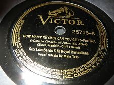 78RPM Victor 25713 Guy Lombardo, Farewell My Love / How Many Rhymes Can U Get E-
