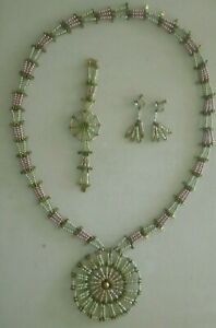 Handmade Safety Pin & Bead Necklace, Bracelet and Earrings