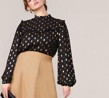 Blouse Women Shirt 1pc Regular Fit Female Black Gold Dot Print Top Keyhole Back
