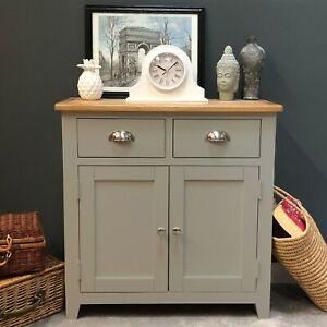 Grey Oak Mini Sideboard Painted Solid Wood Oak Small Cupboard / Drawers Grateley