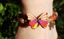 Beautiful Unique boho style copper & wooden Butterfly Bracelet for Autism