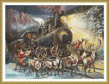 """""""Le train de nuit"""" est un 14 CT cross stitch chart 4 Dmc Fil"""