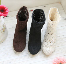 Bohemia Womens Hollow Out Crochet Pull On Shoes Summer Low Heels Ankle Boots SZ