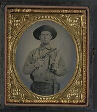 Photo Civil War Confederate Colt Navy Revolver Double Handle D Guard Bowie Knife