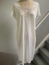 HANRO Cream Fine Cotton Long  V Neck Cap Sleeve Nightdress Size S