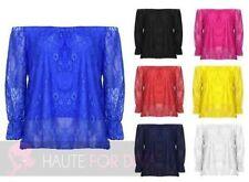 Taillenlange Damenblusen, - tops & -shirts aus Polyester mit Stretch-Blusen