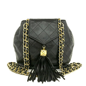 CHANEL Quilted Matelasse Lambskin Fringe Chain Shoulder Bag Black /90193