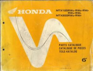 HONDA MTX125 RW & MTX200 RW 1983-1990 FACTORY PARTS LIST,PARTS CATALOGUE