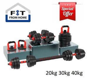 Adjustable Dumbbell Set Barbell Kettlebell Push up stand 4-in-1 20kg 30kg 40kg