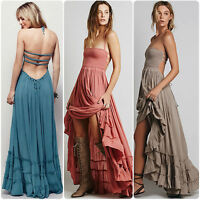 Women Sexy Hippie Boho halter neck Maxi Cocktail Party backless Long Maxi Dress