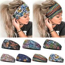 Women Wide Elastic Turban Headwraps Stretch Headband Sports Yoga Gym Hair Band