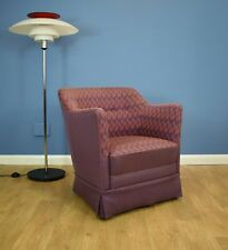 Mid Century Retro Vintage Danish Pink & Purple Wool Lounge Arm Tub Chair 1950s
