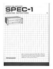 Pioneer SPEC-1 Receiver Owners Manual