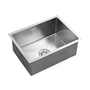 Stainless Steel Square Kitchen Undermount Sink Single Bowl Drainer & Waste Kit