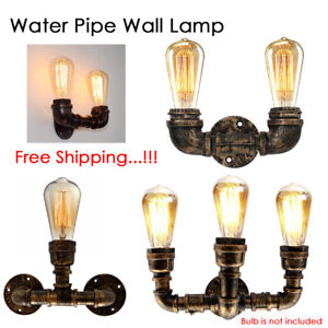 Vintage Industrial Sconce Loft Rustic Pipe Lamp Wall Light Porch Lamp Steampunk