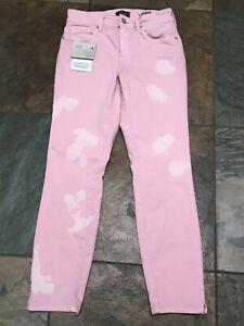 "NYDJ 0 x 27"" AMI Skinny Ankle Pink Bleached Tie Dye Front Denim NEW B"