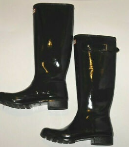 Women's Hunter Rain Boots Black Tall Gloss Size 9 Defects-Read