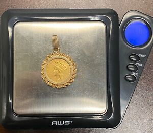 1854 $3 Indian Princess Gold Coin Type w/ AU Details in a 14k Gold Bezel, 10.7 g