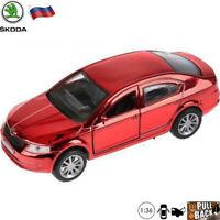 Diecast Car Scale 1:36 Skoda Octavia Russian Red Chrome Color Model Cars