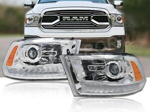 Pair Chrome Projector Headlights w/ LED Signal for 2009-2018 Dodge Ram 1500