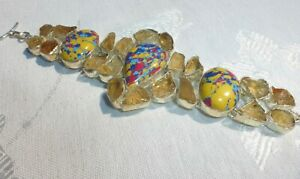 AMAZING Large Mosaic Balloon Jasper Citrine Rough 925 Sterling Silver Bracelet