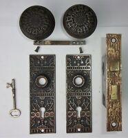 Antique Ornate Set EASTLAKE VICTORIAN Backplates Door Knobs Mortise Lock w/ Key