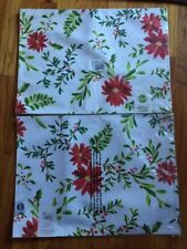 Set Of 2 Food Network Microfiber Placemats Holiday Poinsettia Christmas