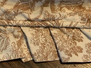 TAN BROWN COTTON SCENIC PASTORAL ANTIQUE TOILE FABRIC RUFFLE KING DUVET COVER