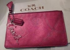 COACH Raspberry Pink Metallic Jewel Leather Pouch/Coin Purse