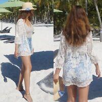 Women Beach Cover Up Sun Shirt Kimono Cardigan Rose Summer Lace Top Blouse Tee
