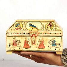 Vintage Look Decorative Hand Painted Mughal Solid Camel Bone Trinket Box 11075