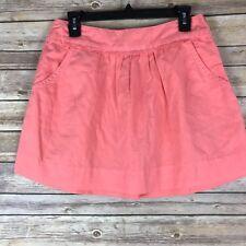 J Crew Womens Skirt Cotton Linen Calvary Mini Pockets Solid Peach 25887 Size 2