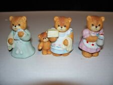 3 Lucy & Me Bears By Enesco Mother W/ Laundry, Holding Coffee Pot & Bedtime